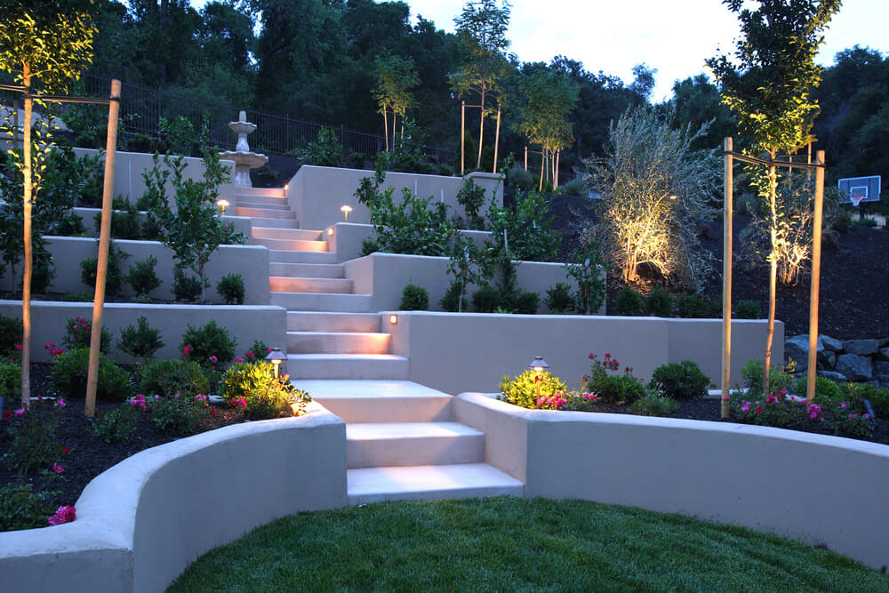 Gorgeous steps and gardens in a backyard