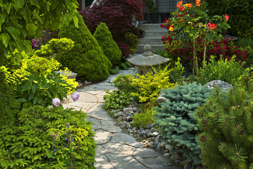An oriental stone lamp seen beside the stony steps, amidst low-lying green shrubs, pine-trimmed hedges, and colored shrubs, creates a Zen-like touch to this outdoor garden.
