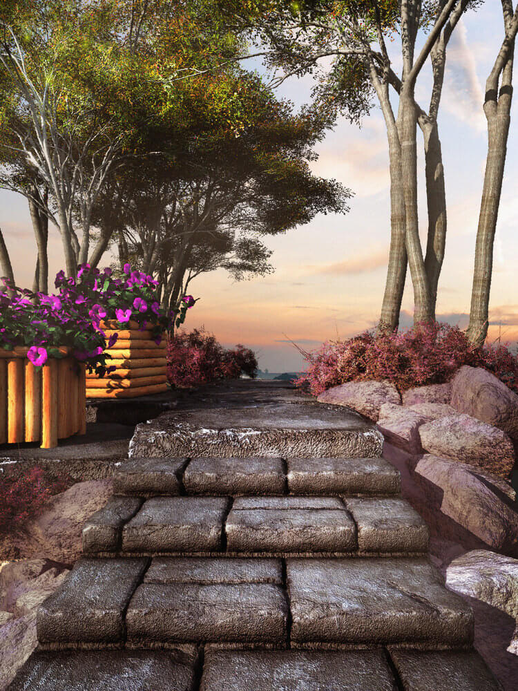 Black slabs of stony steps lead to an outdoor minimalist garden with an amazing overlooking view.