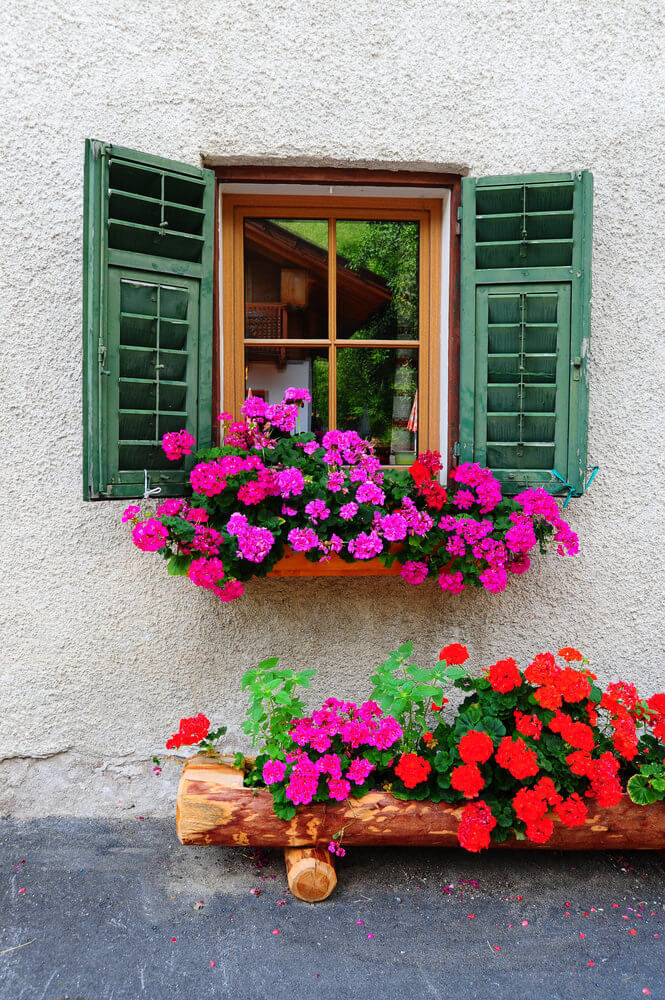 Window flower box with bright pink flowers set above a log flower box with bright pink and red flowers.