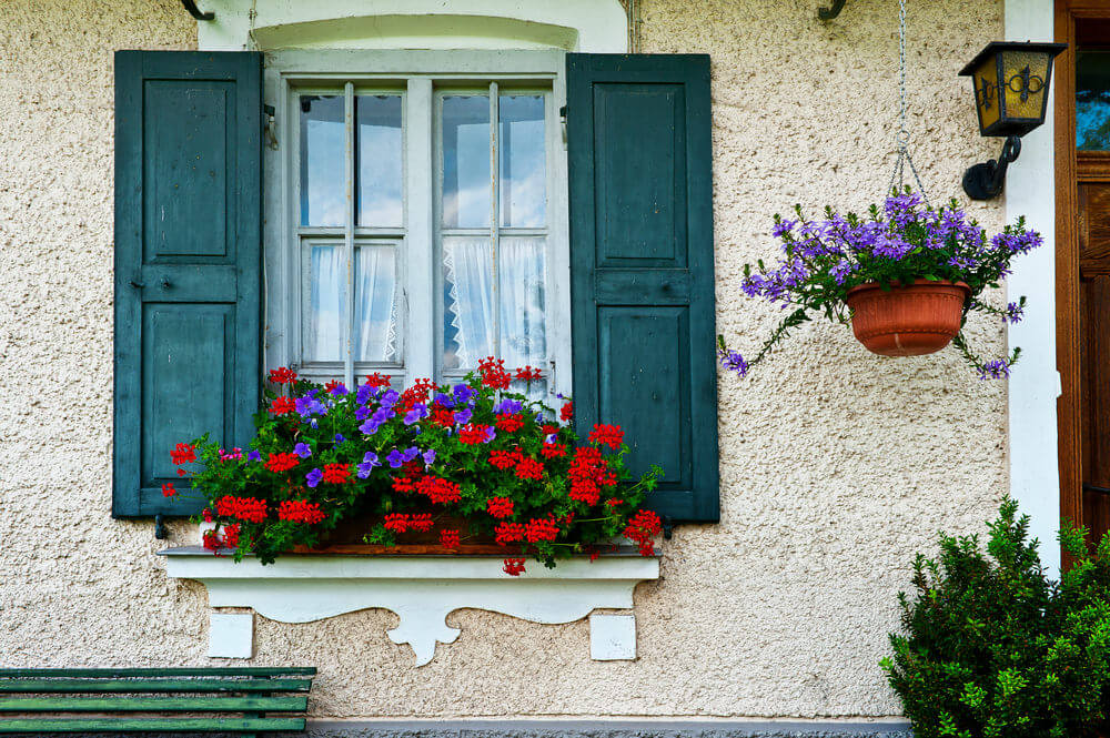 Shuttered window with flower box containing purple and red flowers.