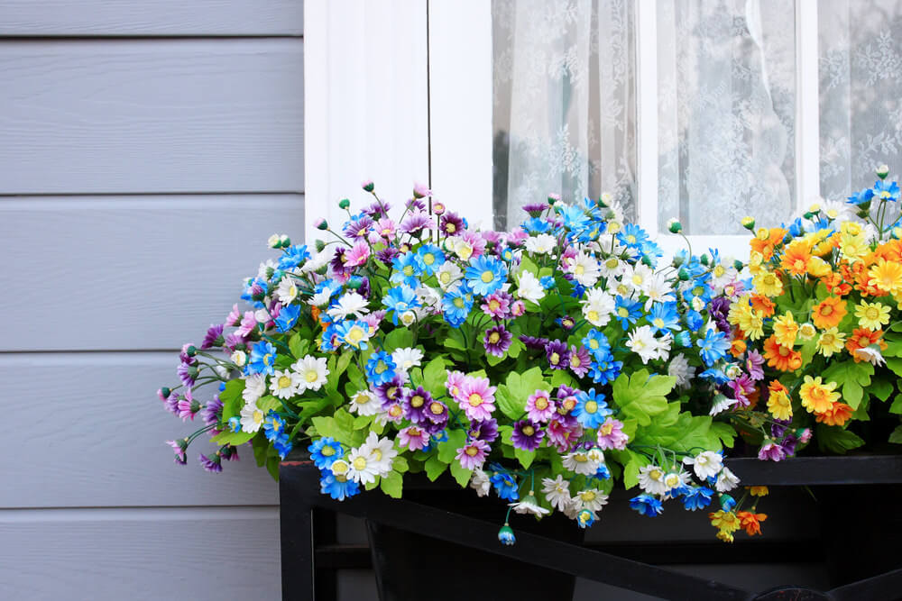 Example of a flower box created with a series of flowers in pots placed underneath a window.