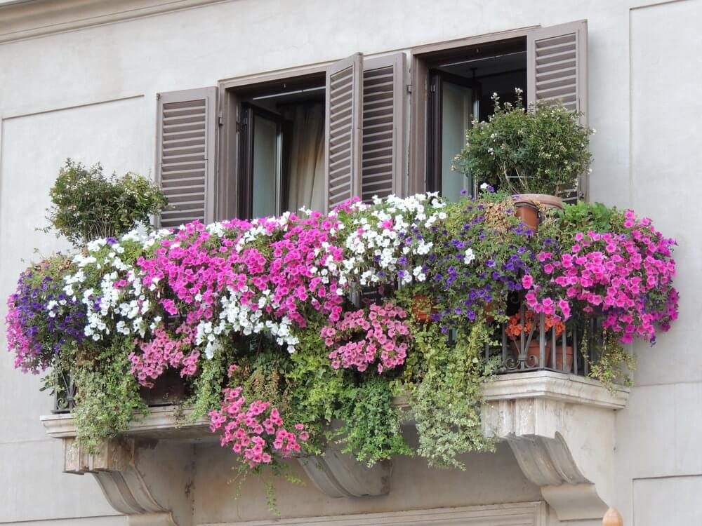 Another stunning balcony overflowing with flowers grown from a series of flower boxes and flowerpots.