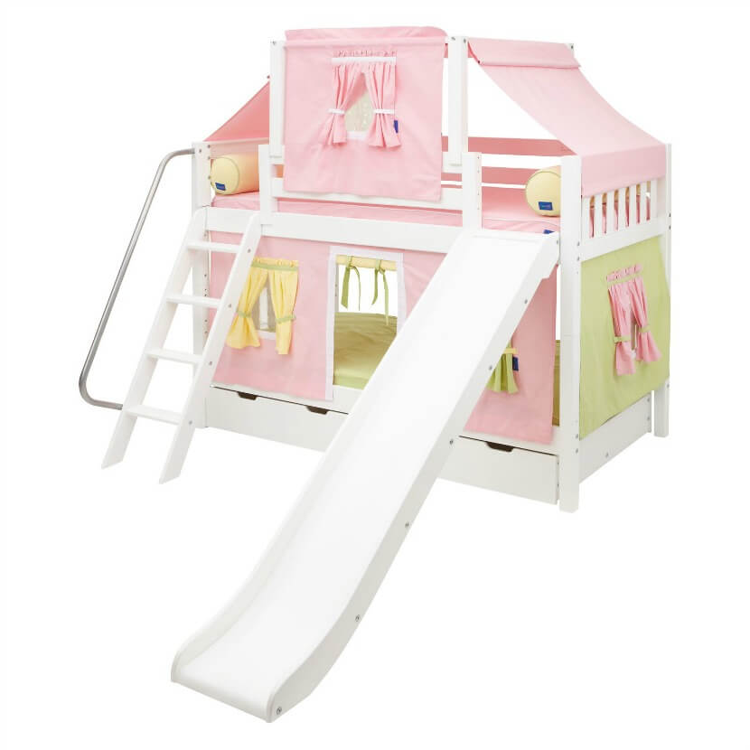 Little girls will love the pastel colors, attached slide, and top tent of this girly bunk bed. It's not only fun for the kids but it's safe for them, too. It's made of solid birch and designed with plenty of safety features to keep your sleeping child safe all night long.