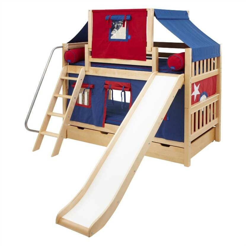 You can place this bunk bed in a small room for your child or break it into two beds if you have more than one child. This multi-functional bed is built of durable birch wood and designed to keep your kids from falling out of bed due to nightmares.
