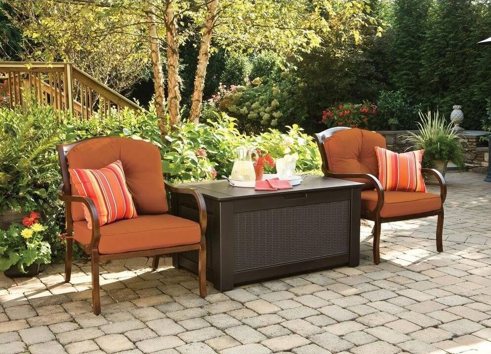 A dark basket weave design makes this sturdy bench deck box (Amazon) fit right into your outdoor design.