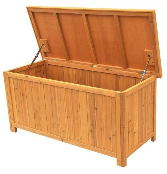 This beautiful 67-gallon wood deck box features solid wood construction and ventilated panels.