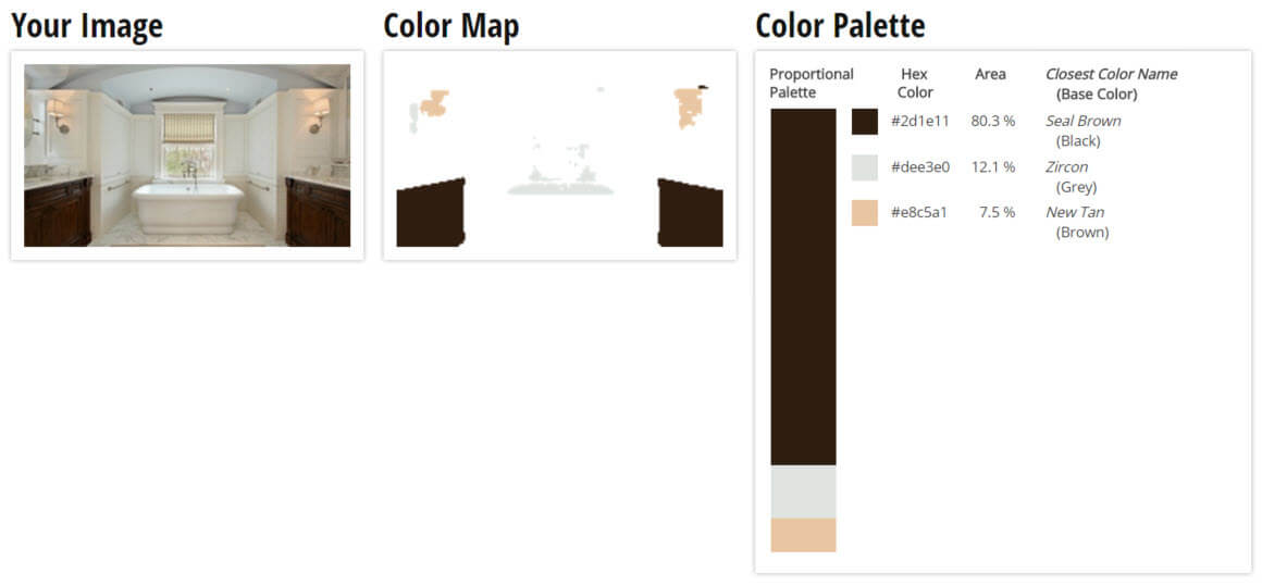 Color Palette for Brown, Grey and White Bathroom Color Scheme