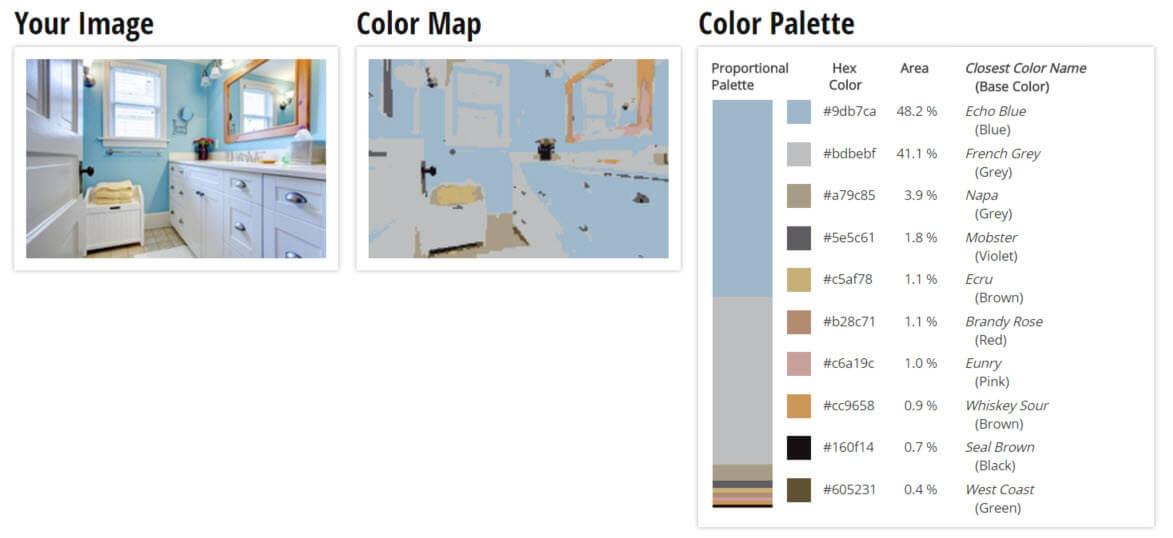Color Palette for Blue, White and Grey Bathroom Color Scheme