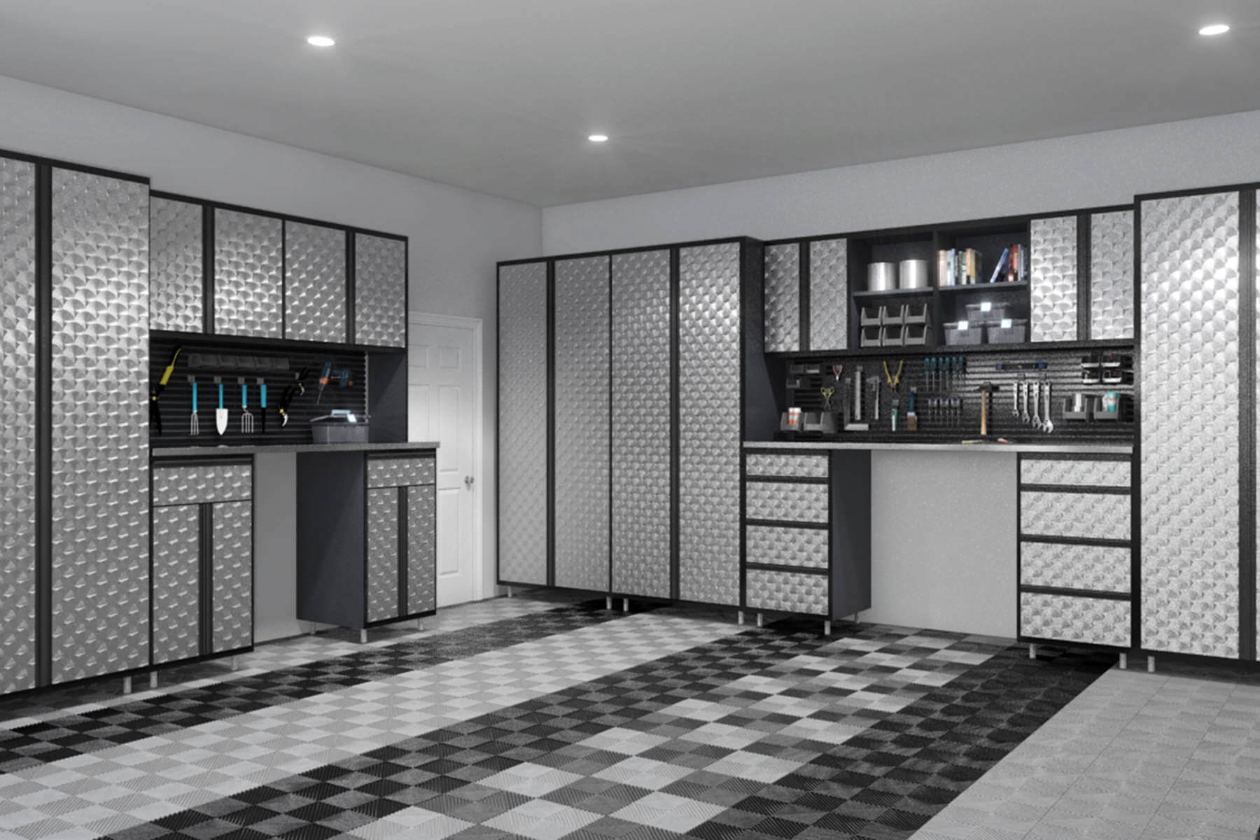 Every inch of this garage screams of masculinity with its running theme of diesel black, platinum ice, and liquid silver from the tall cabinets down to the floors. Vertical storage for the garage tools are easy to spot in all black design.