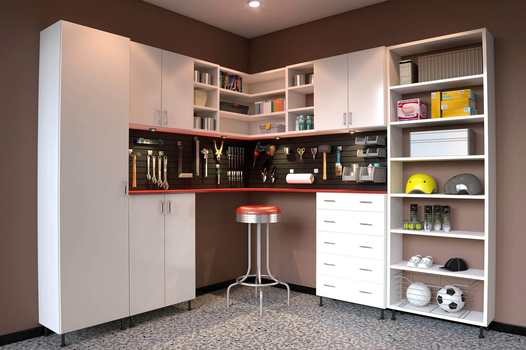 Garage space is maximized through the use of basic white tall melamine cabinets and a combination of open shelves. There's also a workbench in front of a workstation where tools are conveniently hung on an embedded wall rack.
