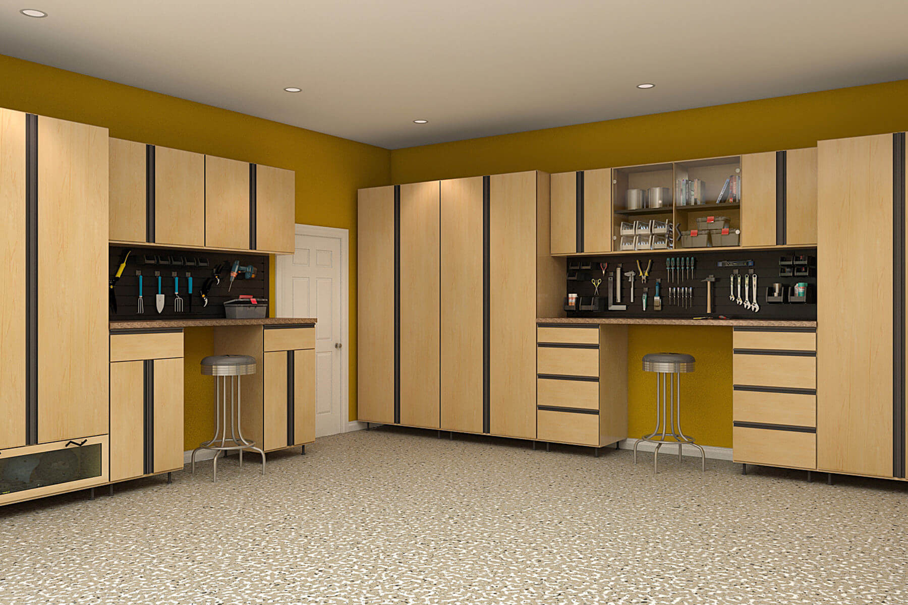Simple yet sophisticated is what the hardrock maple cabinets designed with black extrusions on its doors and drawer fronts manage to achieve. Yellow walls in the background create a chic look.