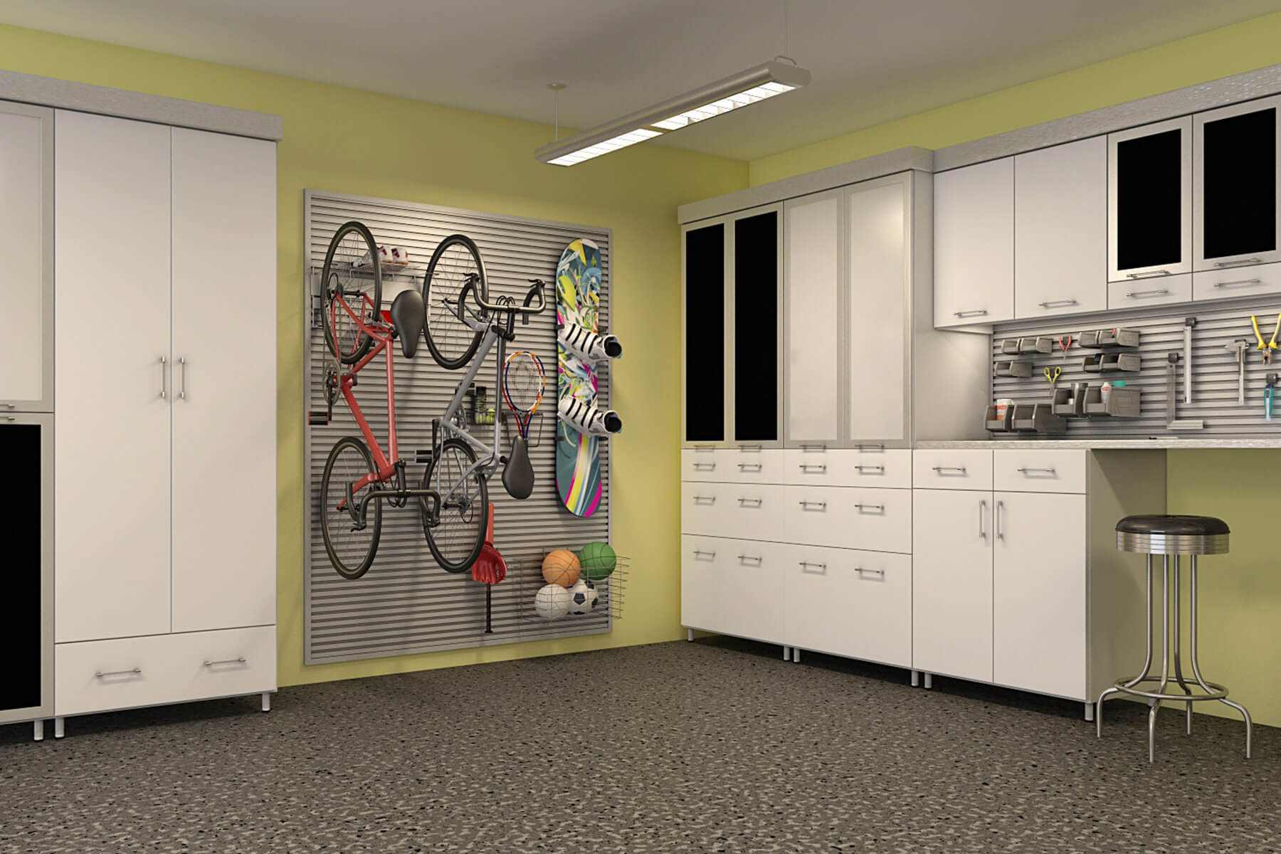 This garage features the large square wall rack placed at a corner of the room. Vertical storage for large items like bicycles, snowboards, and other smaller items is possible to this strongly embedded wall rack saving significant space for the garage.