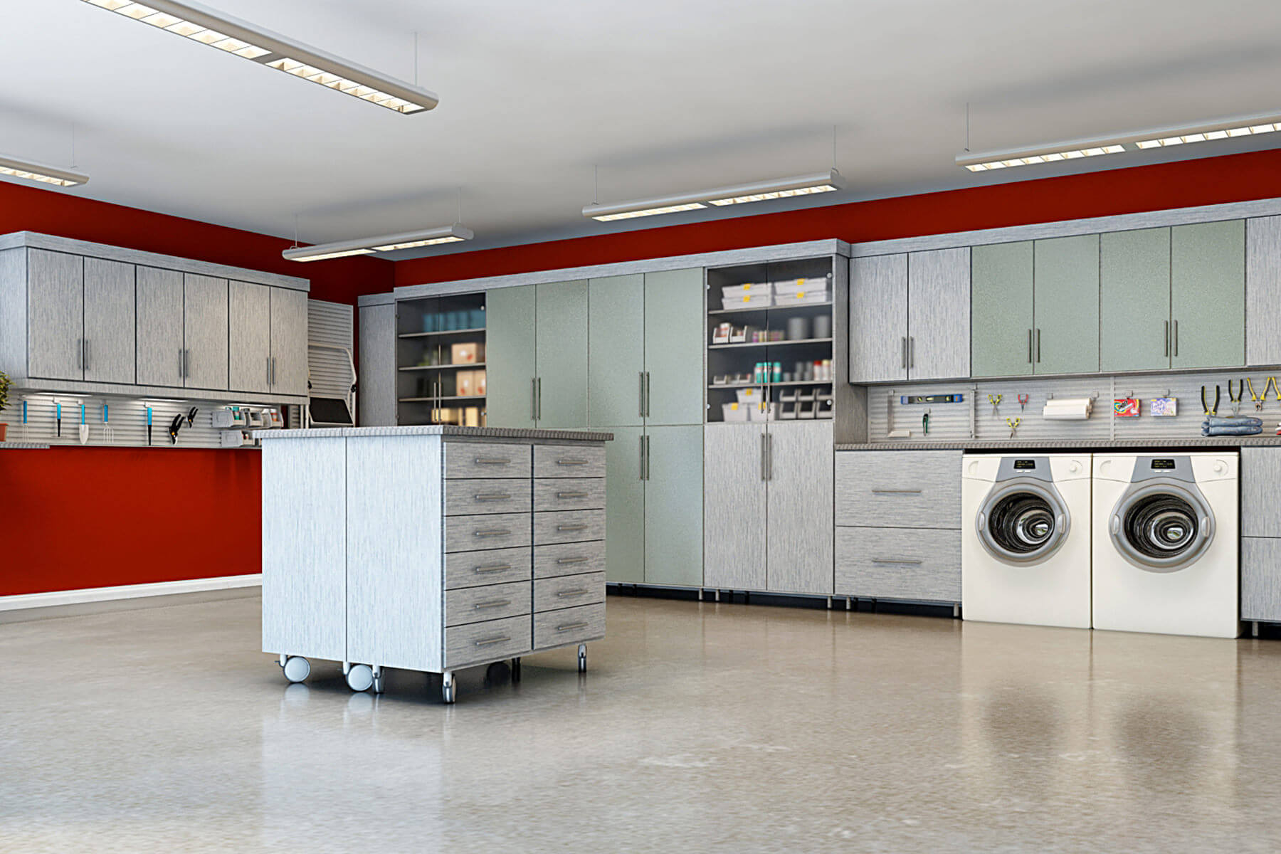 This garage features a movable melamine smoke island that enables you to move it around as you work.