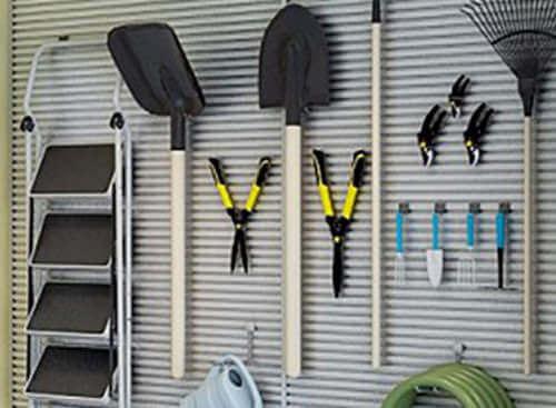 Slatwall Organizers help keep tools and sports equipment organized.