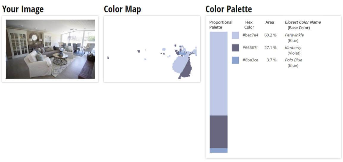 Color Palette for Blue, White and Violet Living Room Color Scheme