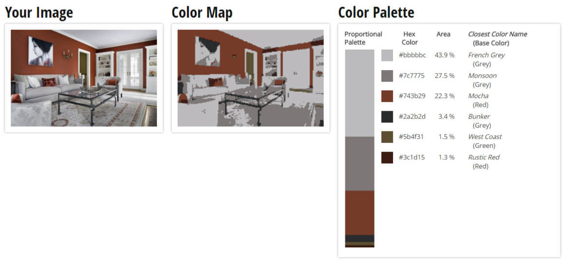 Color Palette for Rustic Red and Grey Living Room Color Scheme