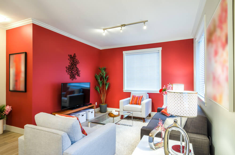 Small living space featuring red walls and cozy seats set on the white area rug.