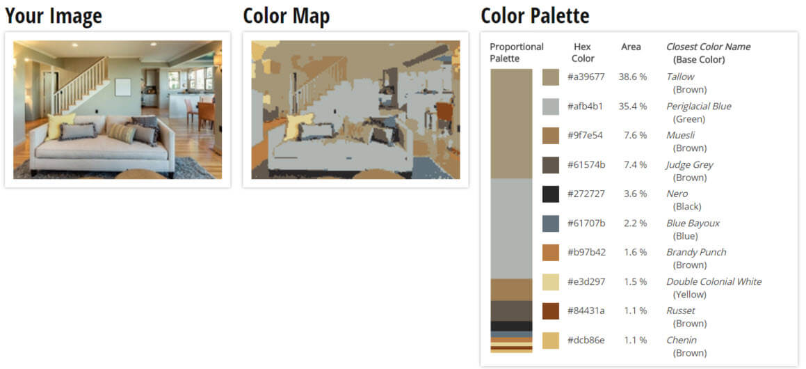 Color Palette for Green, Brown and Grey Living Room Color Scheme