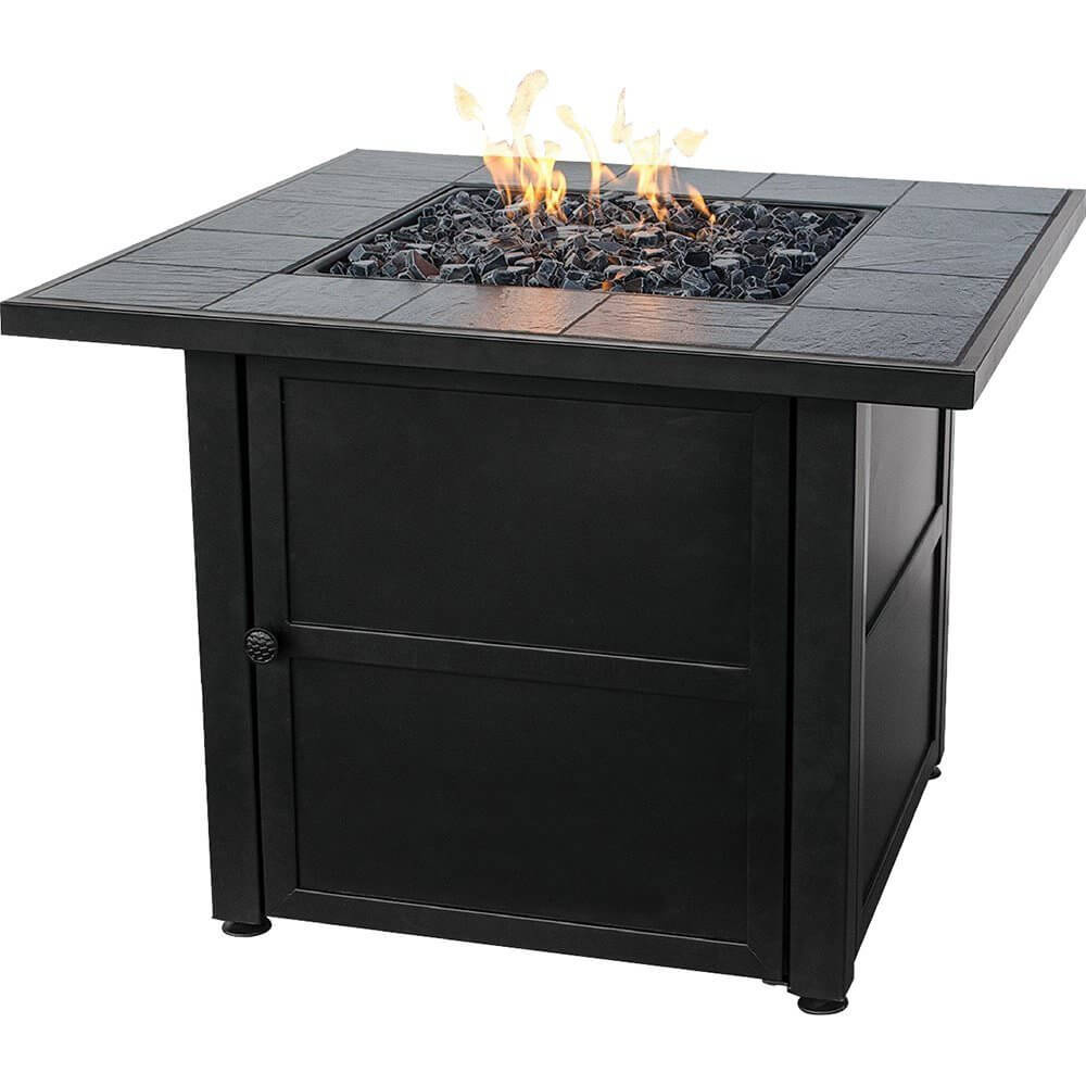 Give your backyard a touch of elegance with this square propane patio fire pit with table space. It is weather resistant and the decorative base will make your visitors think it is a beautiful table centerpiece. It features a 30,000 BTU stainless steel burner and fire glass that gives it a classic look.