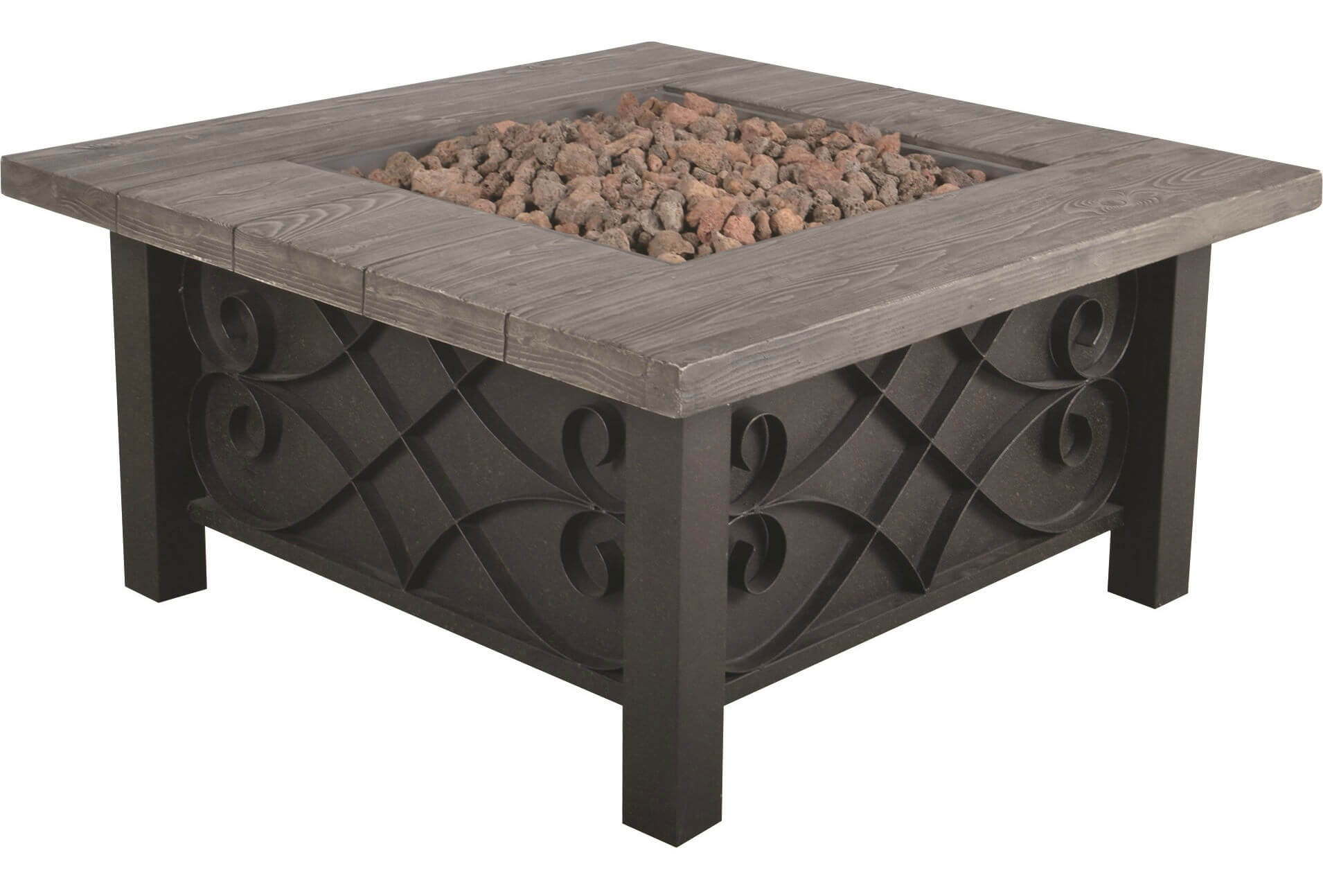 Get this charming and rustic steel propane patio fire pit with table ledge to give your backyard a rustic glow. The gas burner in this fire pit can reach up to 50,000 BTUs and you can even use it as a table without worrying about the heat. It comes with its very own lava rock kit and gas hose.