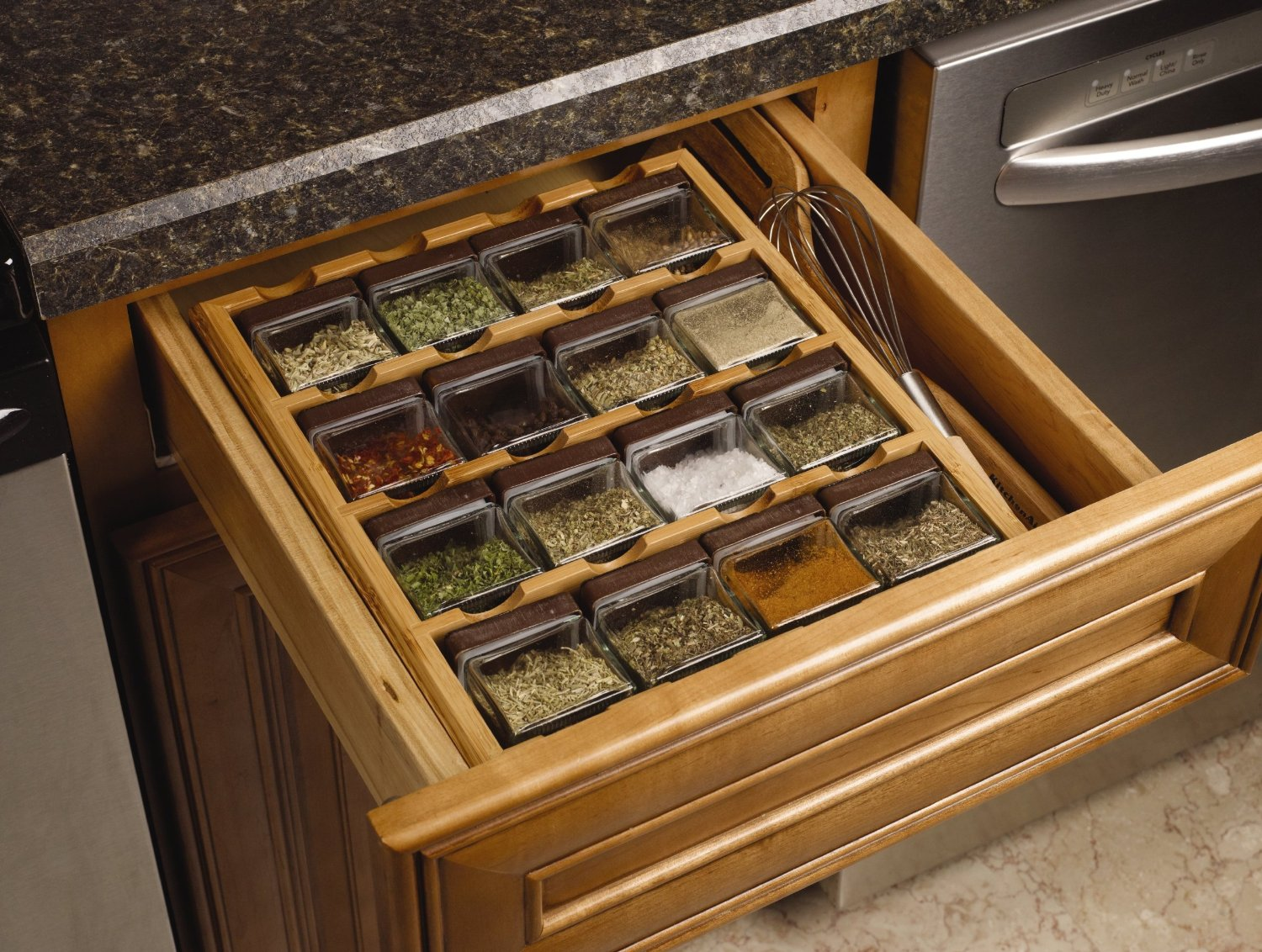 A 16-cube spice rack. A perfect for the kitchen counter's drawer.