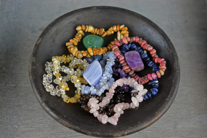 Crystals are a go-to recommendation for improving the vibrations in your house because they are supposed to conjure positivity in the home as they absorb negative energy, clearing the air in a given space.