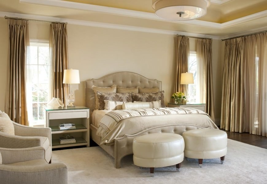 White and cream combination will give the room that luxurious effect you are looking for. A pair of comfortable sitting chairs overlooking the bedroom call for a quiet cup of tea.