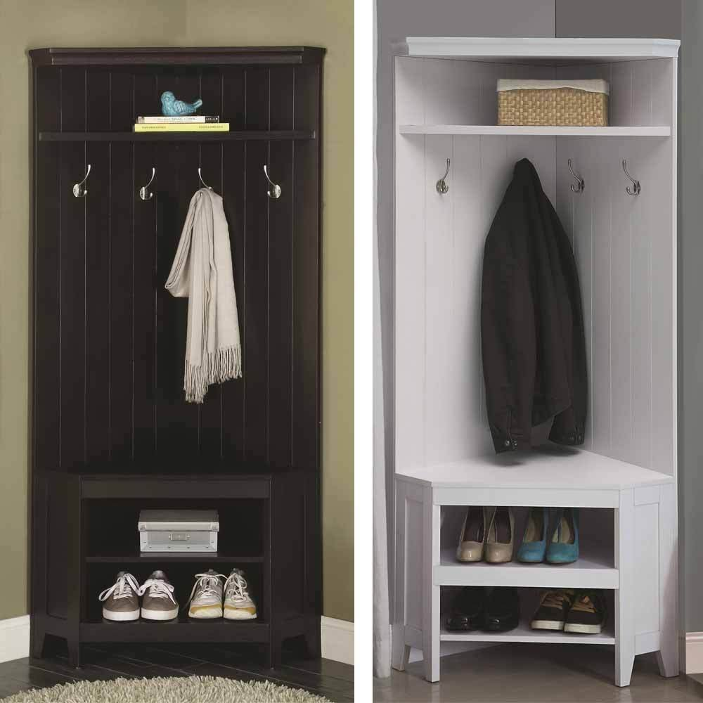This corner coat rack includes a shelf for shoes and a cabinet bench.