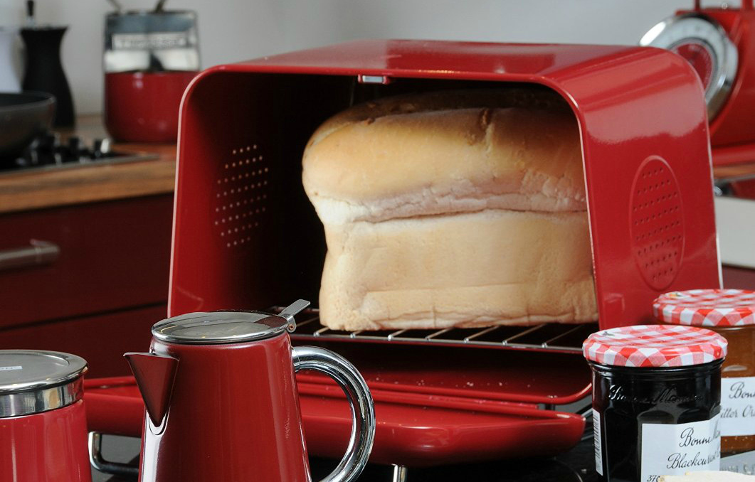 Old-school red bread box