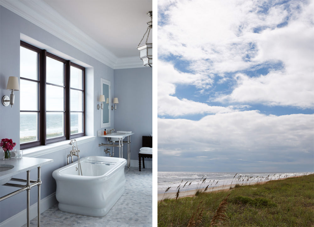 The coolness and the comforting atmosphere from the outdoors like the nice color of the blue skies kissing the blue water in the horizon, is brought into the interior. This bathroom has been created with a calming and relaxing concept of nature tossed with a contemporary look. The bluish and pure white coatings on the wall and fixtures brighten as the natural light is reflected to them. Adding a few pink blossoms accents the tone along with dark brown window framing and chair against the wall.