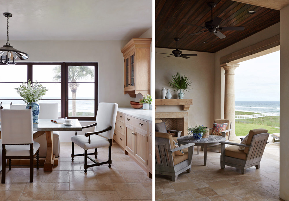 Contemporary designs love bare floors with no rug or carpets. Simple lines and form to the furnishing and surface are present. Not to mention the long wood planks on the ceiling, unskirted tables and chairs with no moldings and carvings on the dining area and outside patio. The warm touch of cream and pure white looks shimmering on a wide window and open space lighting.