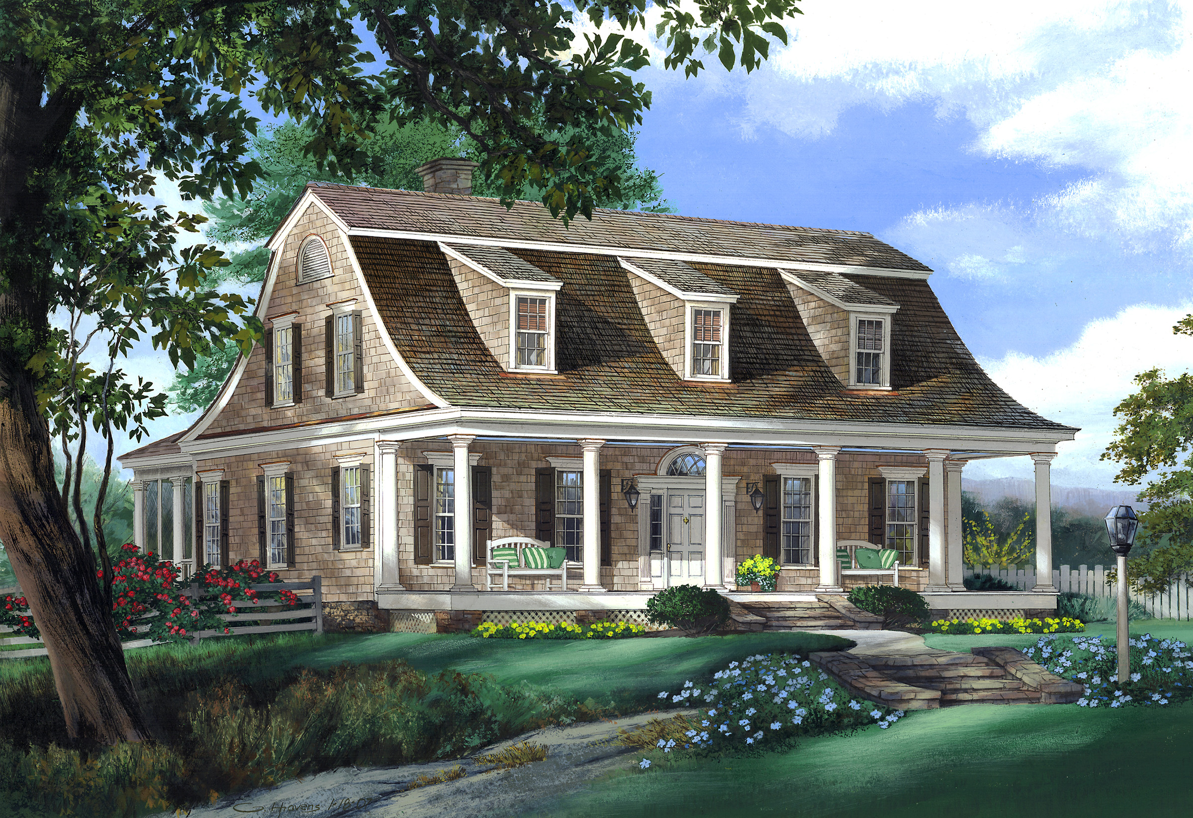 Gambrel roof with sloped dormers. The bottom of the gambrel flares outward with a slight bow.