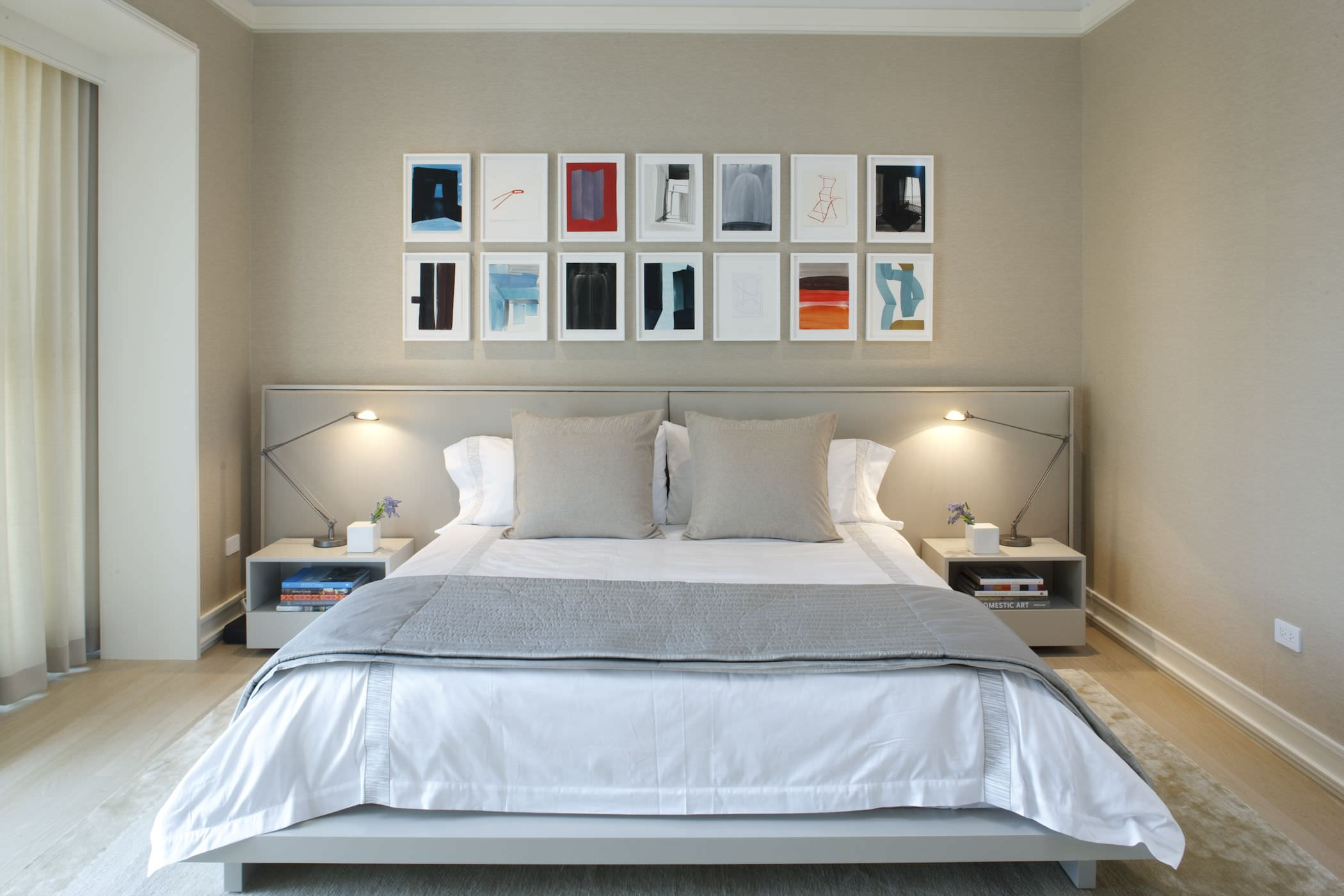 The lower bed creates more space giving the impression of a larger primary bedroom.