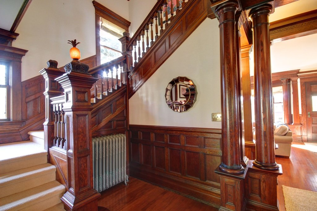 Grand staircase in an American Foursquare home