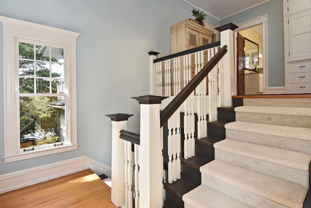 Updated staircase in an American Foursquare home