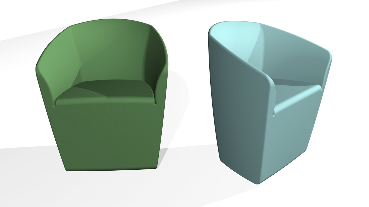 3D blueprint of front and side of chair furniture design