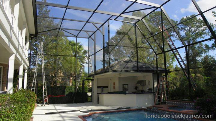 Construction of a Large Pool Screen Enclosure