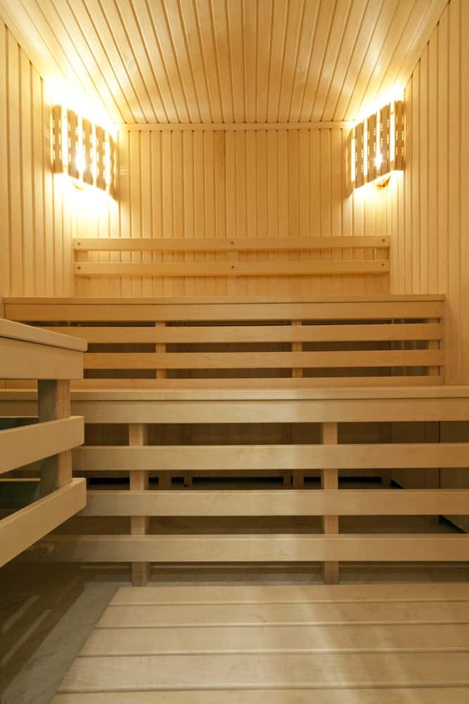 Three bench level tiers sauna