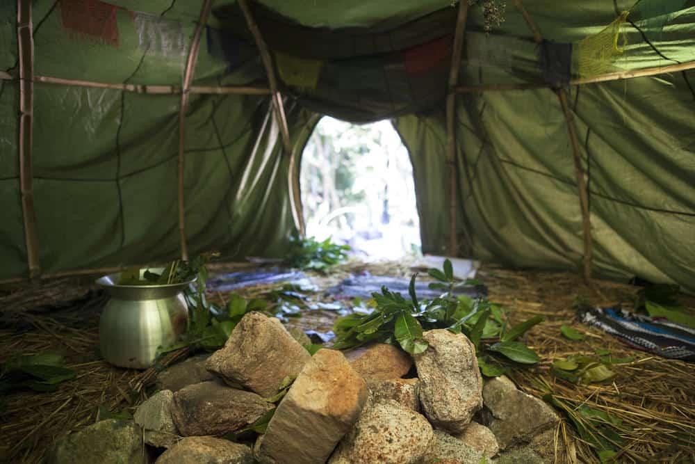 Interior of tent-like sweat lodge