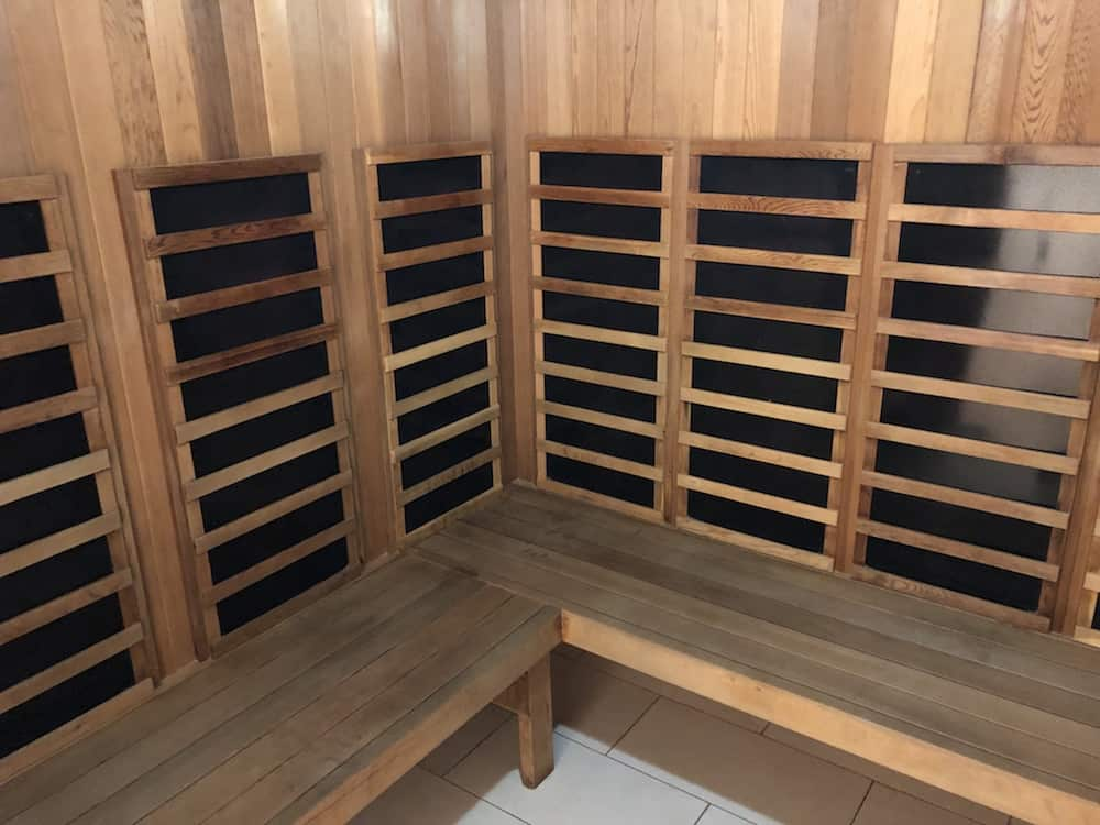 Photo of large infrared sauna in my gym in downtown vancouver