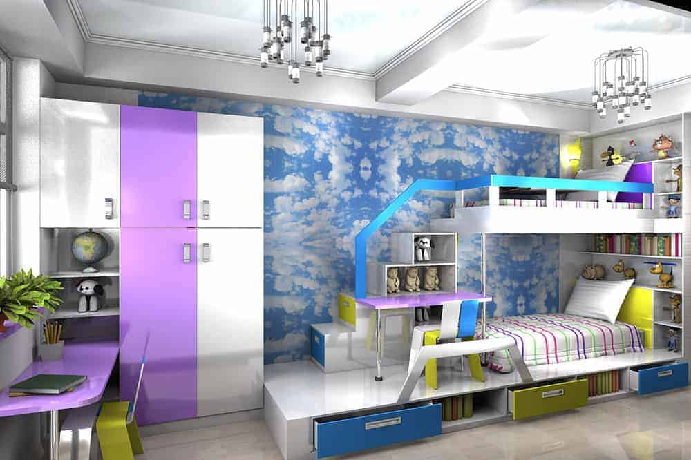 Kids bedroom showcases a storage cabinet and a marvelous bunk bed with shelvings and desk against the cloud accent wall.