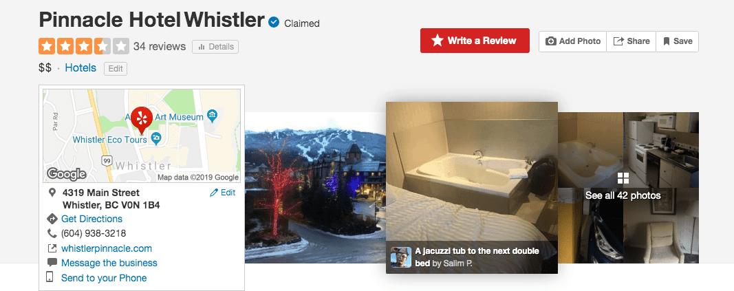 Yelp Pinnacle Hotel reviews
