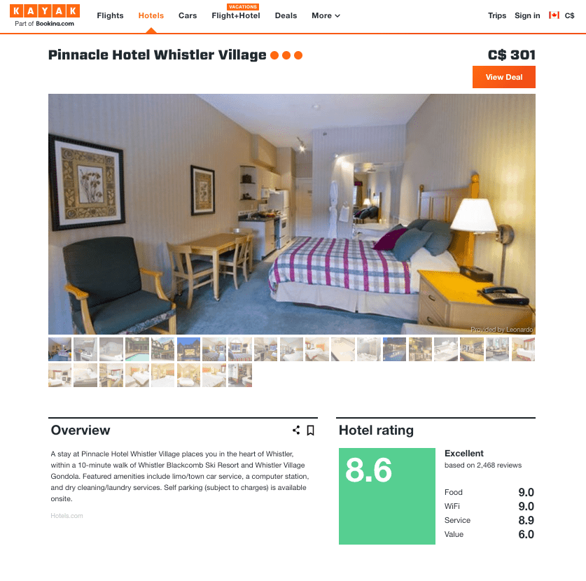 KAYAK travel site reviews for Pinnacle Hotel in Whistler BC