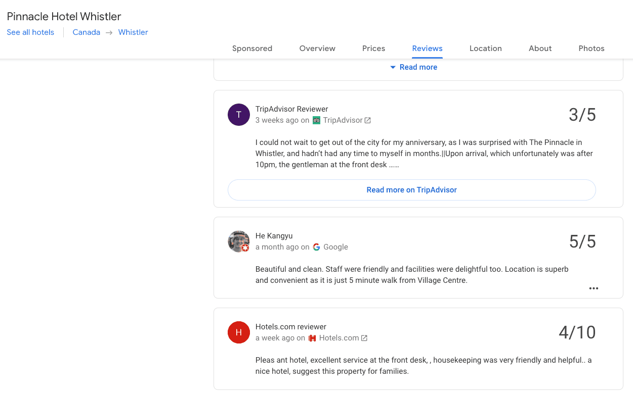 Google reviews for the Pinnacle Hotel in Whistler, BC
