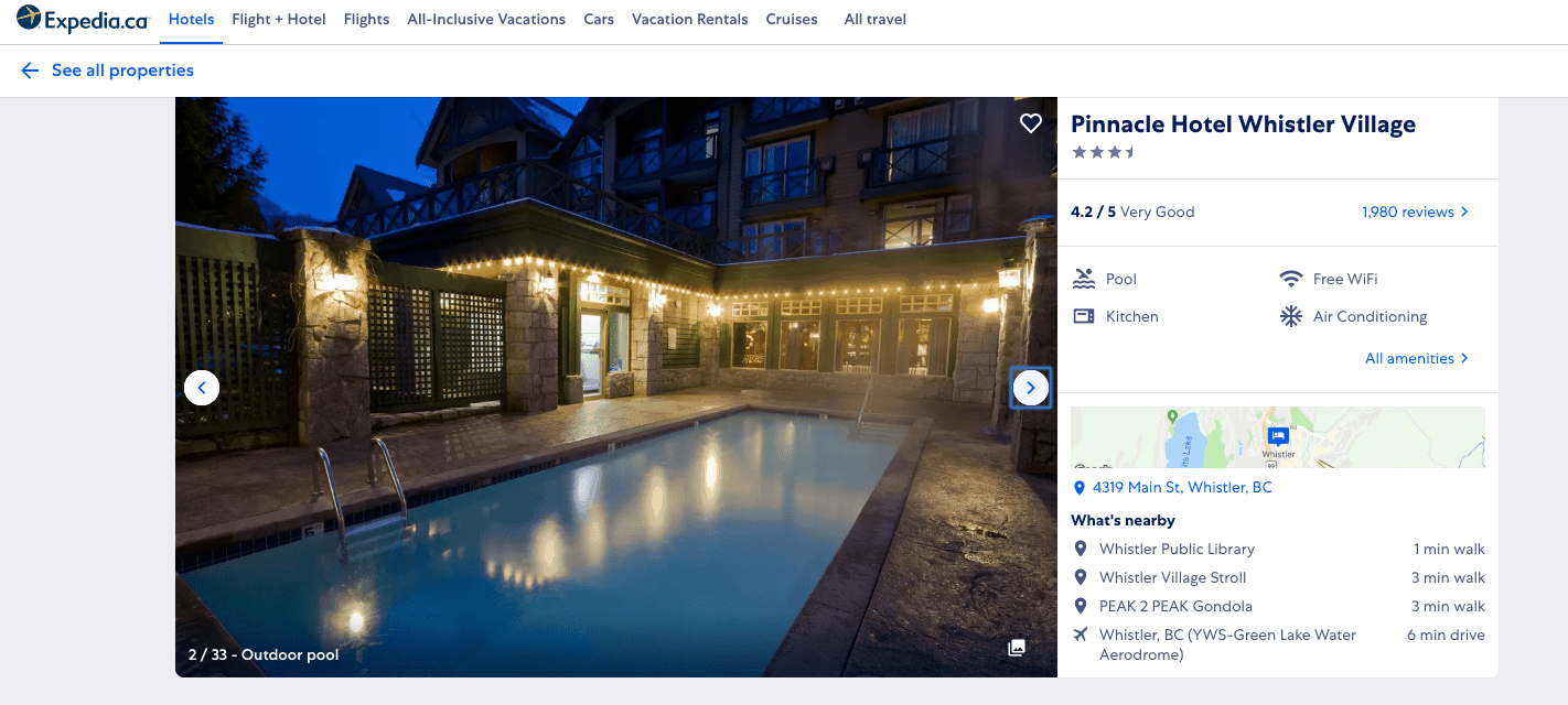 Expedia hotel reviews for Pinnacle hotel in Whistler, BC