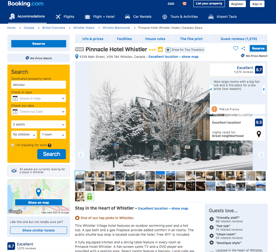 Booking.com reviews of the Pinnacle Hotel in Whistler BC