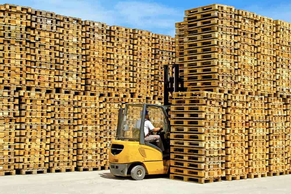 Stacks of wood pallets