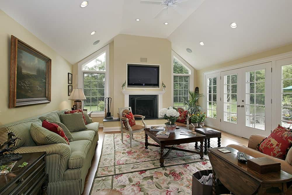 Large family living space featuring an elegant couch along with a fireplace with a widescreen TV just above it.