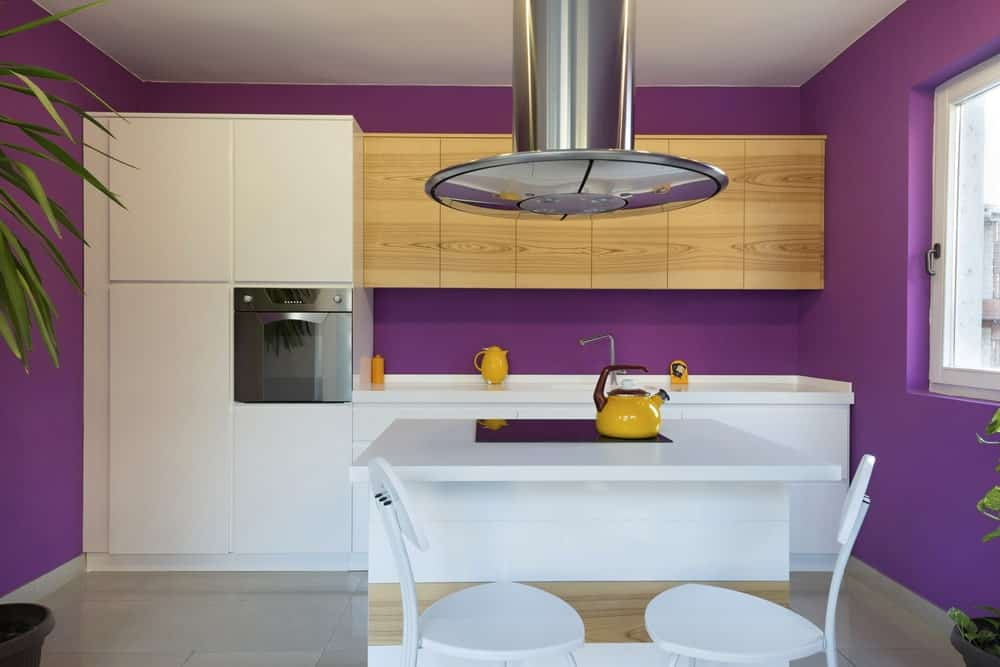 Single wall purple kitchen with flat panel cabinetry and a kitchen island.